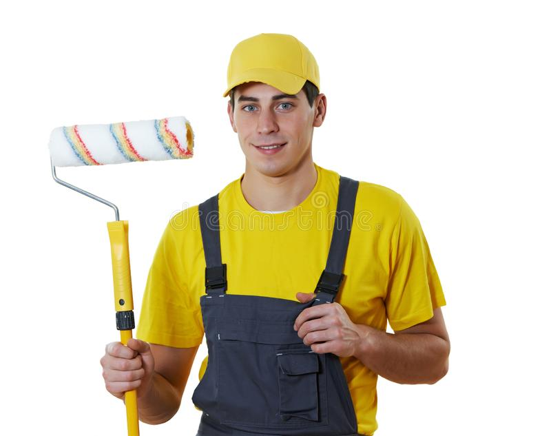 House painter portrait with painting roller royalty free stock photo