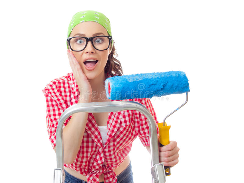 House painter woman royalty free stock photos