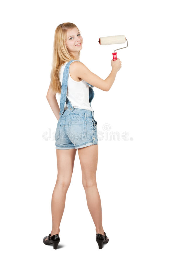 House painters with paint rollers. Female house painters with paint rollers. Isolated over white background stock photos