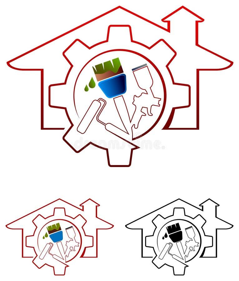 House painting. Illustrated logo design royalty free illustration