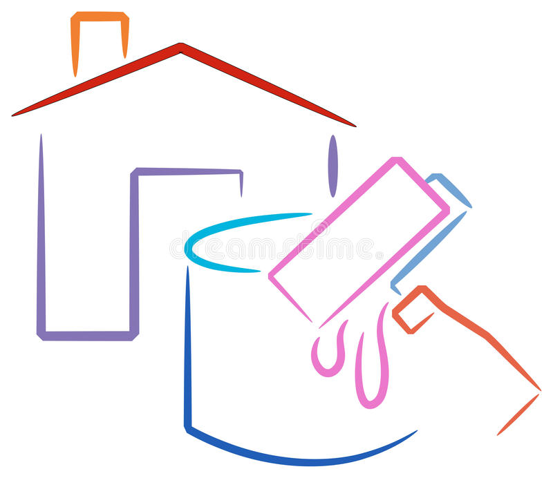 House painting logo. Isolated house and painting materials brush stroke illustration