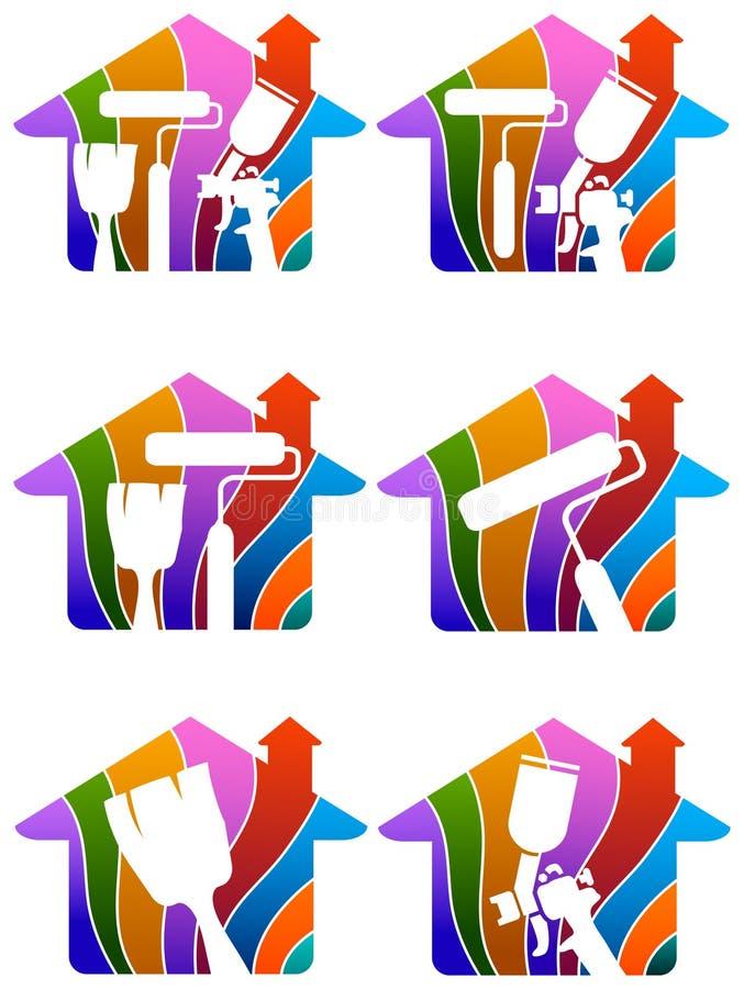 House painting logo. Isolated illustrated house painting logo set stock illustration