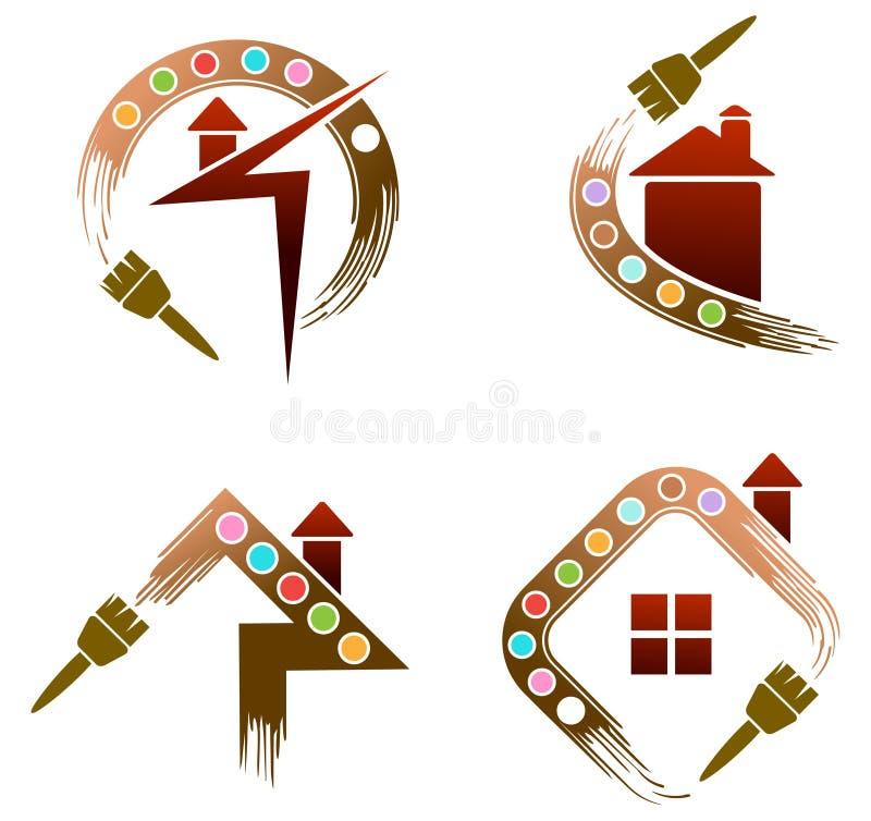 House painting logo set. Illustrated isolated house painting logo set vector illustration