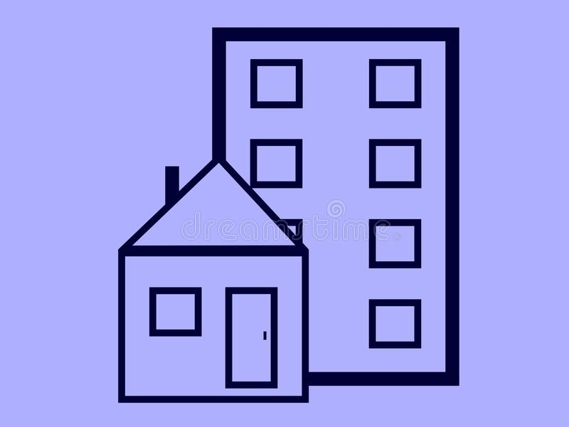 House and panel house in ilustration royalty free stock image