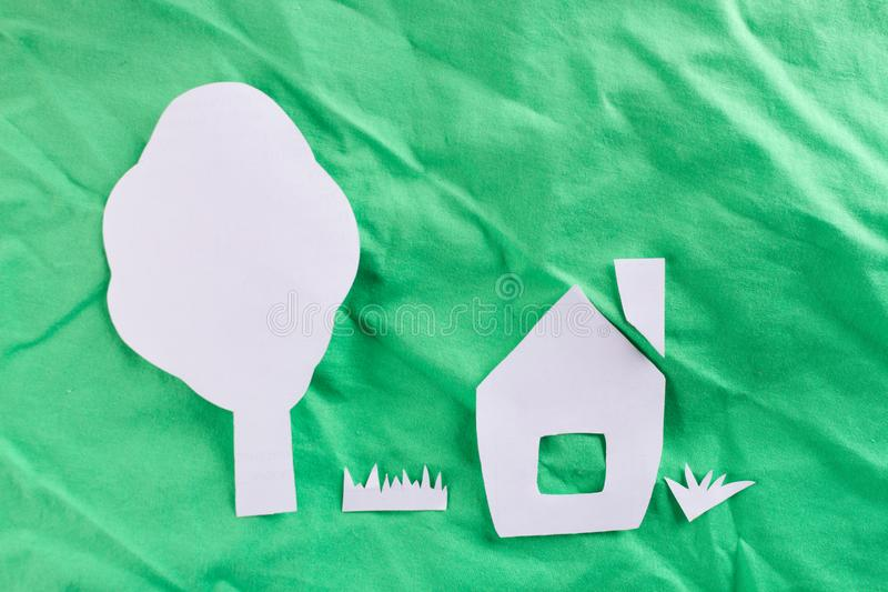 House paper cut. Environmental friendly concept image royalty free stock photography