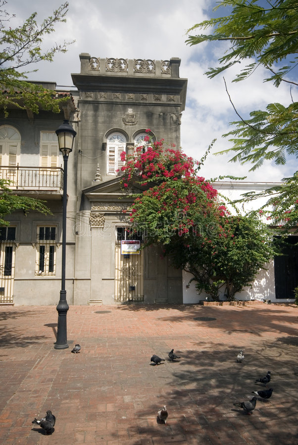 House in park santo domingo. House with flowers in duarte park zona colonial santo domingo dominican republic royalty free stock images