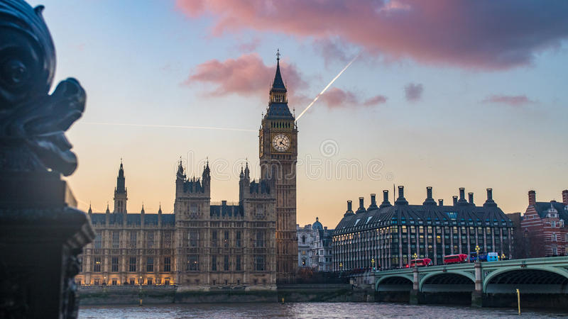 The House of Parliament and the Big Ben in London at sunset. With defocused foreground stock image