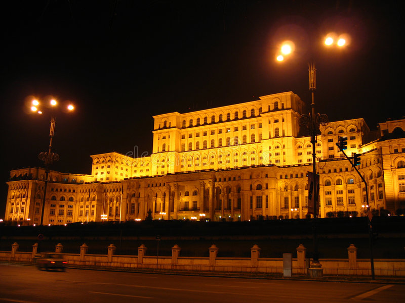 House of Parliament - night, Bucharest, Romania. Known also by the name of House of the People, the project began in 1986 and is not yet completed, following the stock photography
