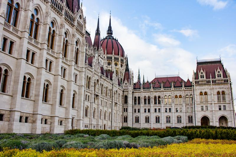 The house of Parliament in Budapest, Hungary. The house of Parliament and a part of the garden, in Budapest, Hungary stock image