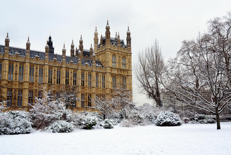 House of Parliament & snow, London stock images