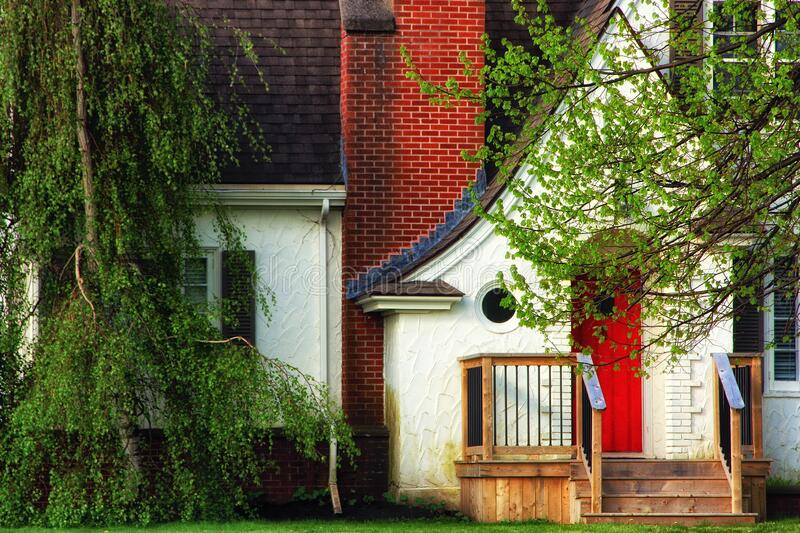 Residential home with red door royalty free stock photo