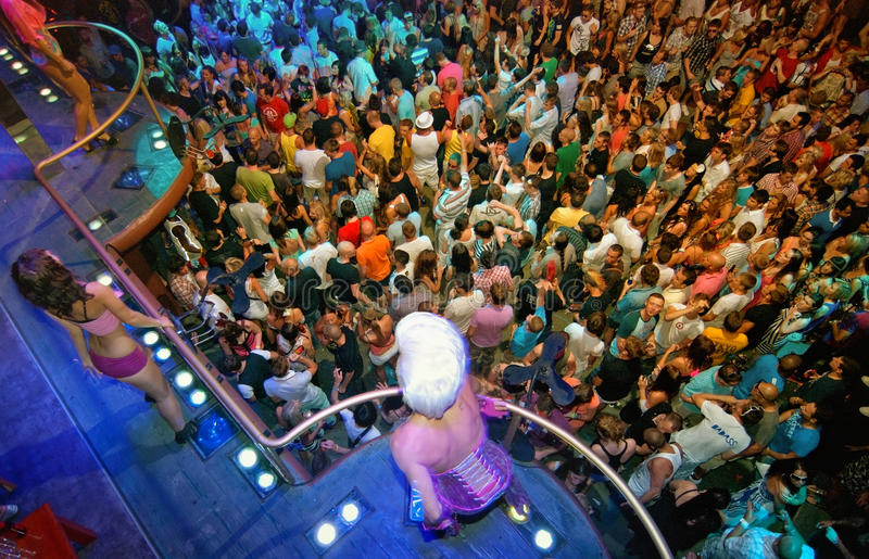 House party people, DJ Armin Ibiza stock image