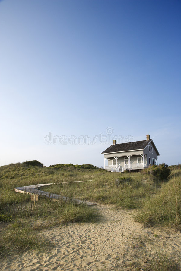 House with path to beach. royalty free stock image