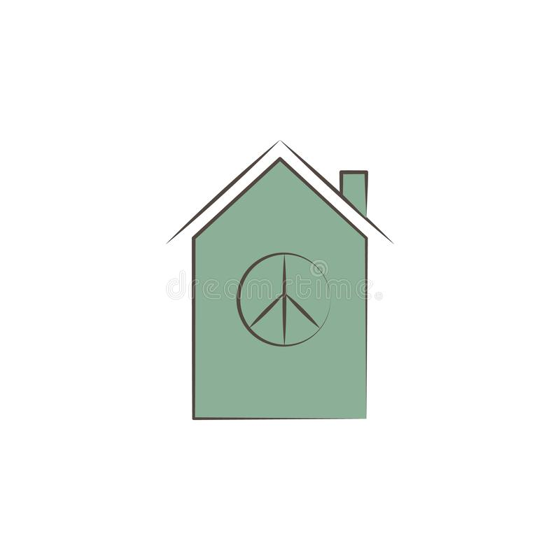 house with peace sign sketch style icon. Element of peace hand drawn icon. Premium quality graphic design icon. Signs and symbols royalty free illustration