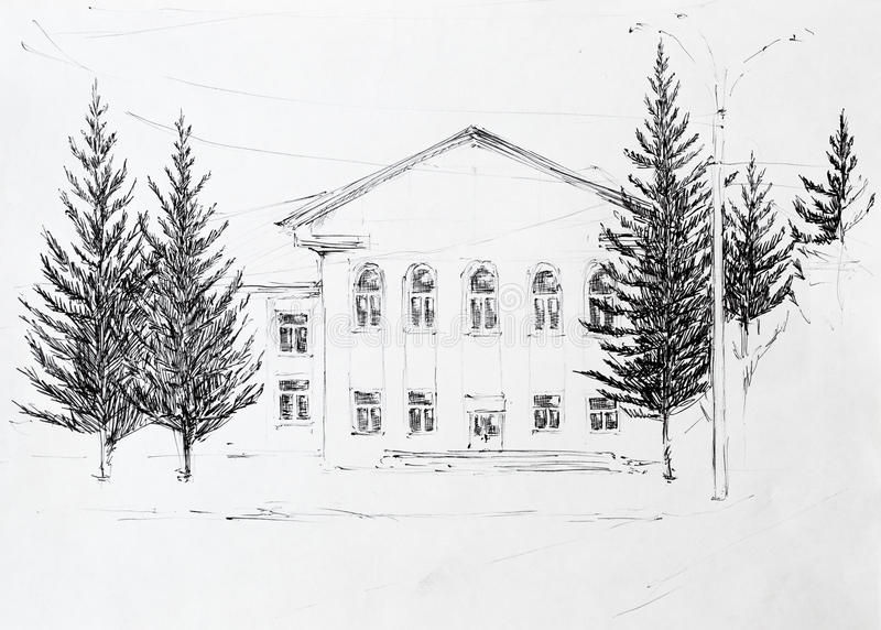 House, pencil drawing royalty free stock photography