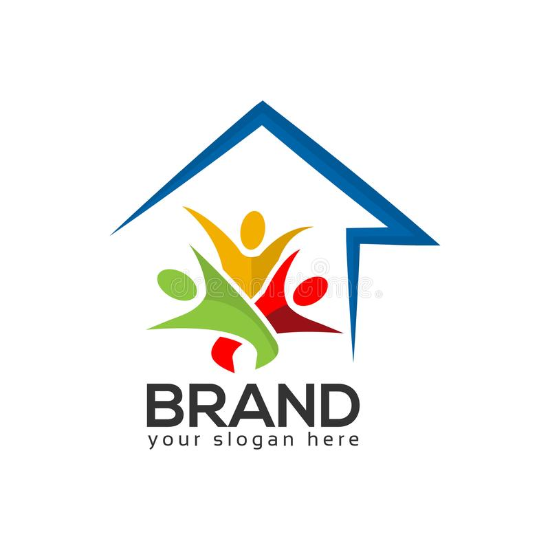 House and people Logo Design Vector, Vector illustration on white background. royalty free illustration