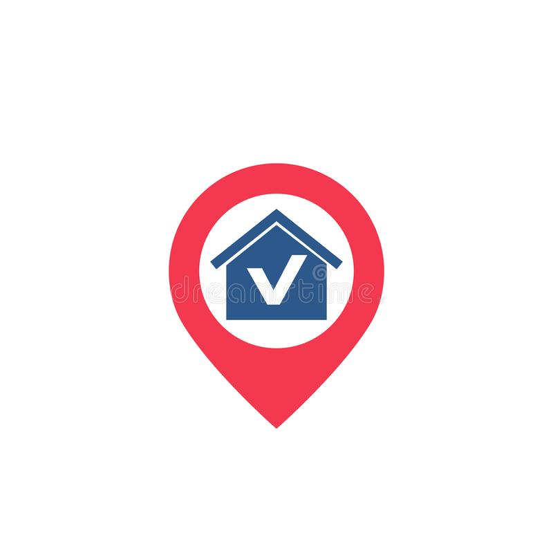 House and pinpoint icon stock illustration