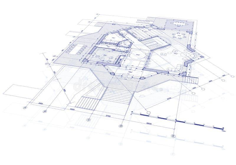 House plan blueprint stock illustration