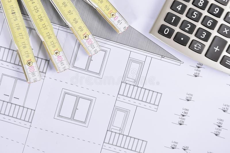 House plan. Calculate and another drawing royalty free stock photos