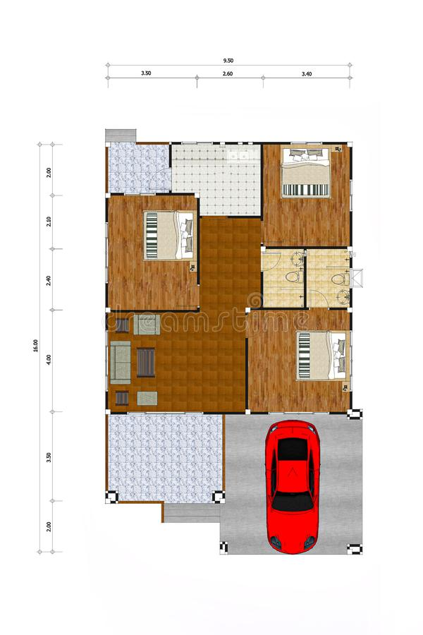 House plan color drawing royalty free stock photography