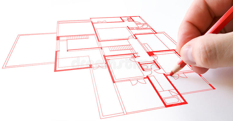 Download House plan drawing stock image. Image of drawing, draw - 14038005