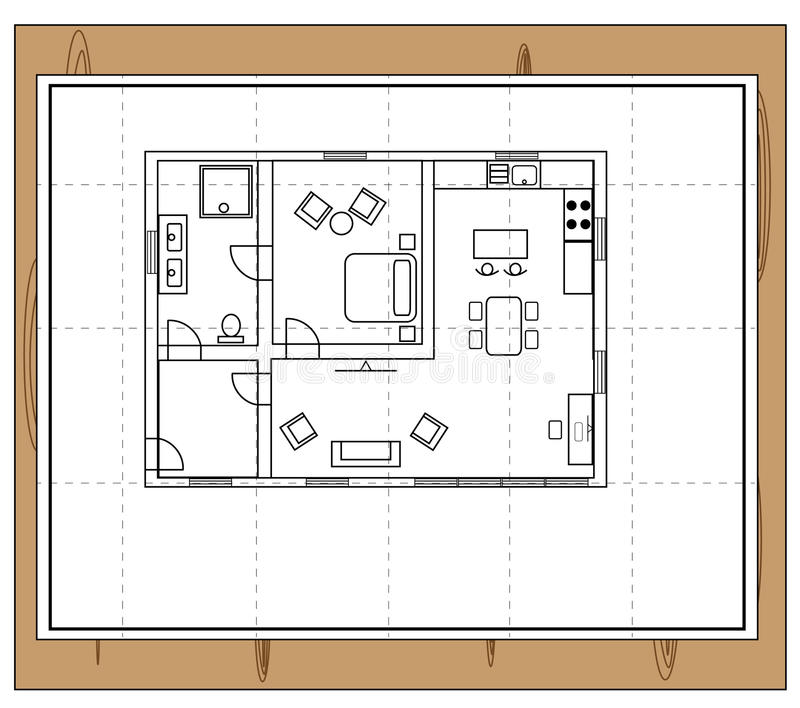 Living Dining Drawing Plan Modern House Plans Free: House Plan Stock Vector. Illustration Of Architect, Dining