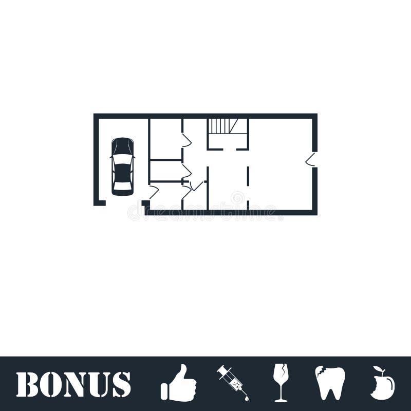 House plan icon flat royalty free illustration
