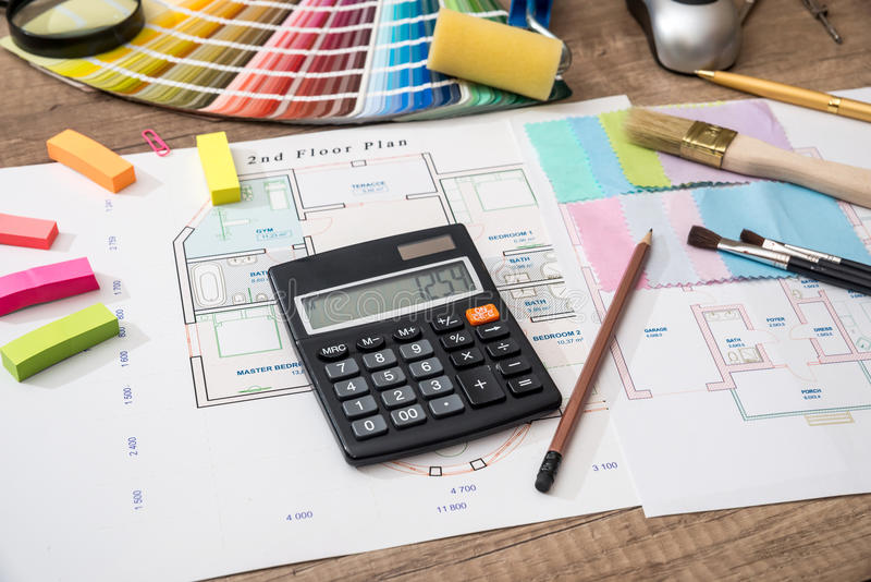 Download House Plan With A Palette Of Colors And A Calculator Stock Image    Image Of