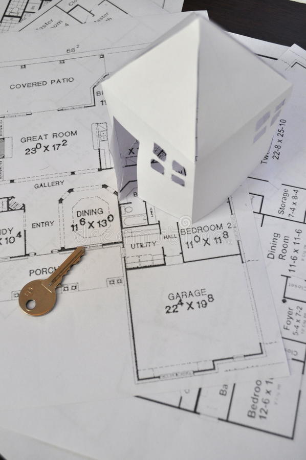 House Plan. Real estate concept - construction plan, plan for house on table stock photo