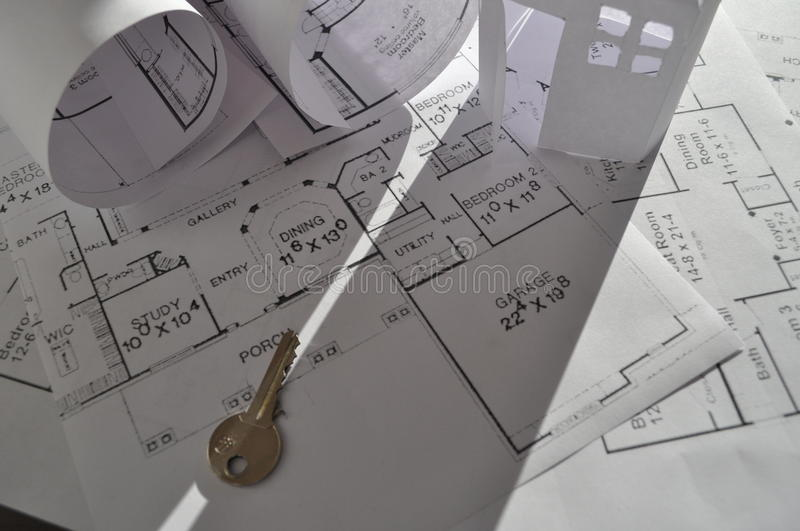 House Plan. Real estate concept - construction plan, plan for house on table royalty free stock photos