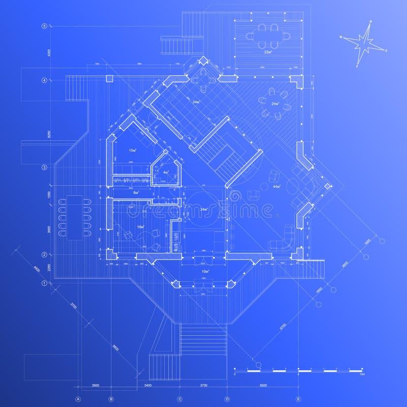 House plan: vector blueprint stock images