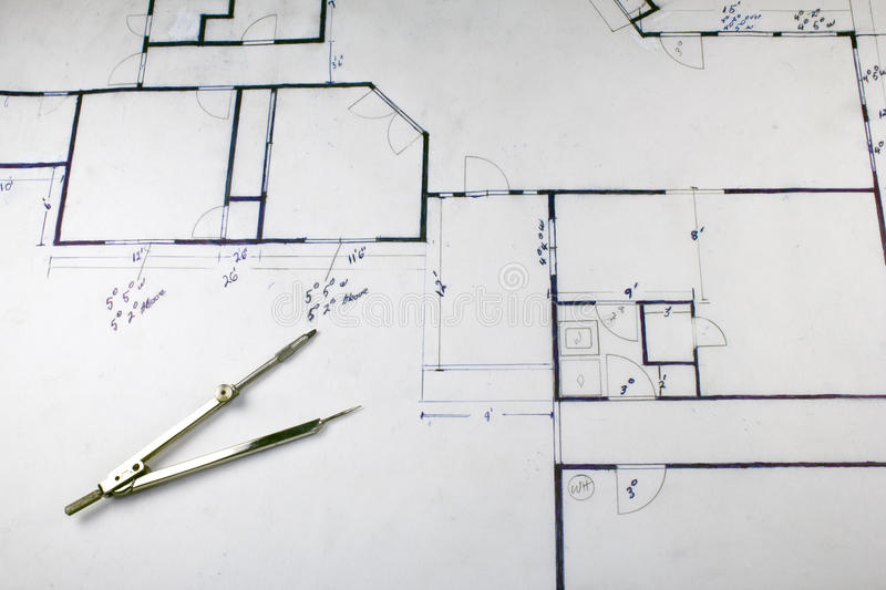 House Plans. House building plans with compass and measurements royalty free stock images