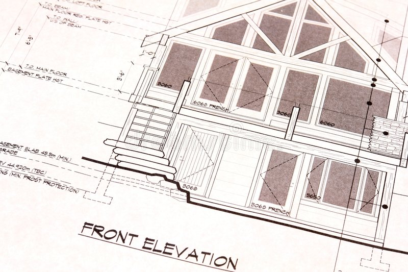 House Plans Blueprints Front royalty free stock photography