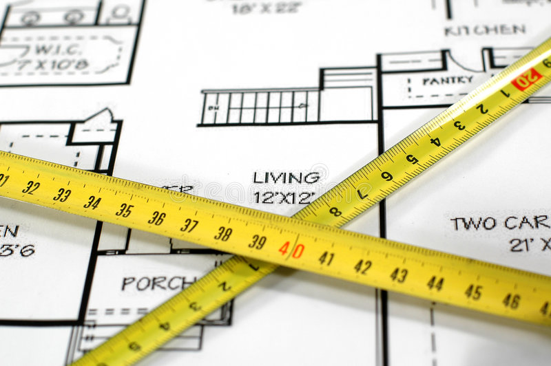 Download House Plans And Folding Rule Stock Image - Image: 2019431