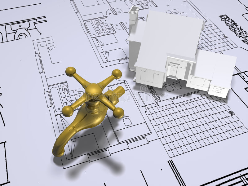 House plans with tap royalty free illustration