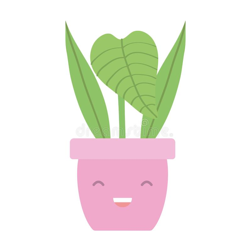 House plant in ceramic pot kawaii character. Vector illustration design vector illustration