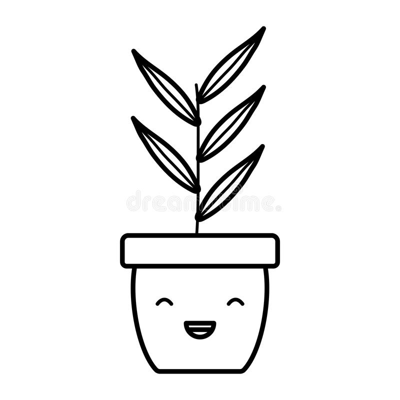 House plant in ceramic pot kawaii character. Vector illustration design stock illustration