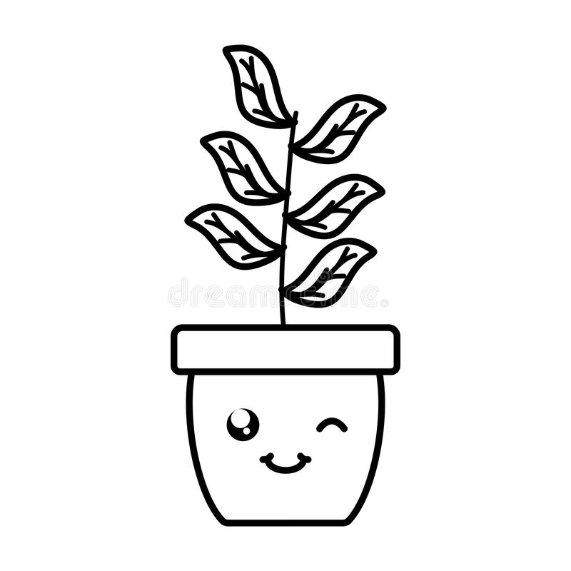 House plant in ceramic pot kawaii character. Vector illustration design royalty free illustration