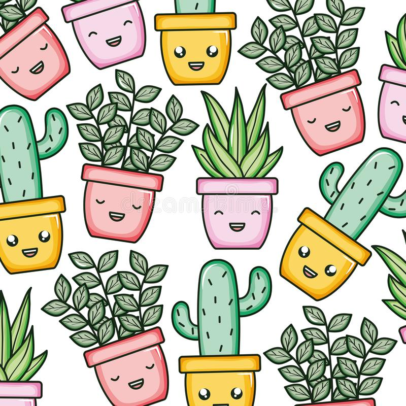 House plants and cactus kawaii characters pattern royalty free illustration