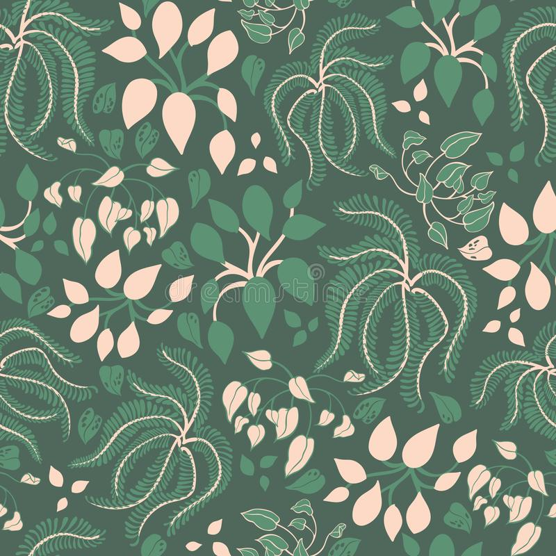 House plants with green leaves on dark green background seamless vector pattern. vector illustration