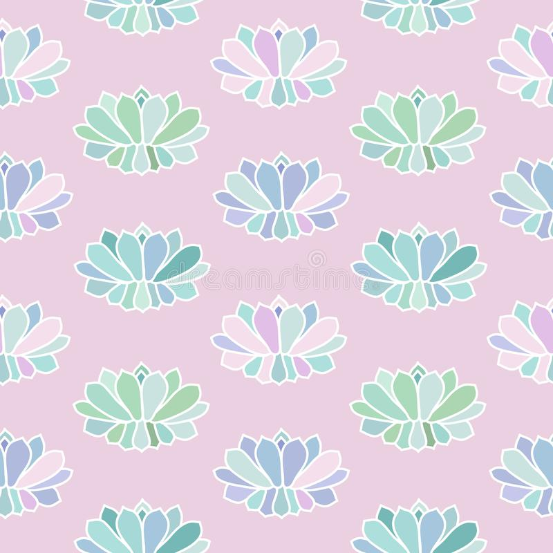 House plants pink purple blue green turquoise pastel succulent s. Candinavian style boho seamless pattern on a light pink background vector vector illustration