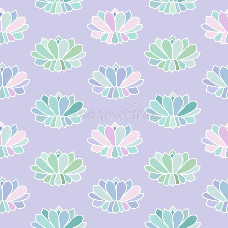 House plants pink purple blue green turquoise pastel succulent s. Candinavian style boho seamless pattern on a light purple background vector vector illustration