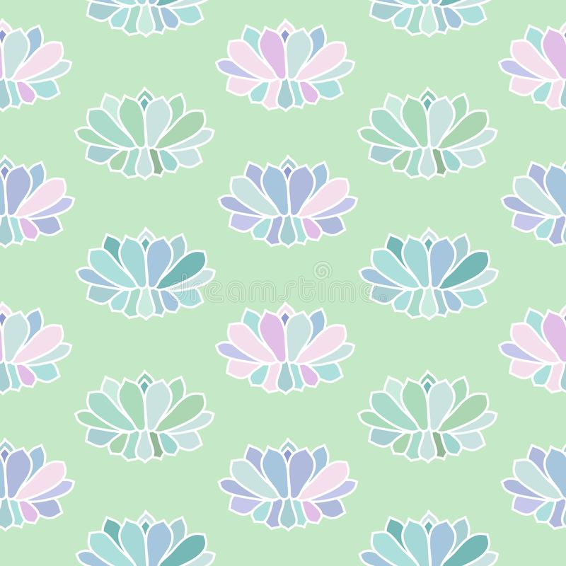 House plants pink purple blue green turquoise pastel succulent scandinavian style boho seamless pattern on a light green. Background vector stock illustration