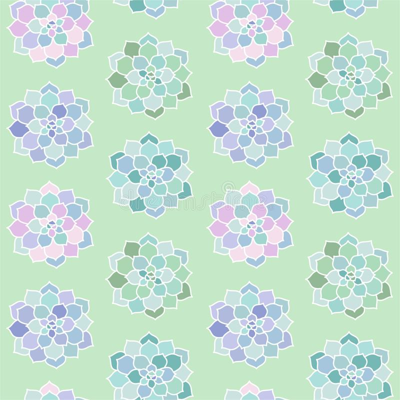 House plants pink purple blue green turquoise pastel succulent t. Op view scandinavian style boho seamless pattern on a green background vector vector illustration