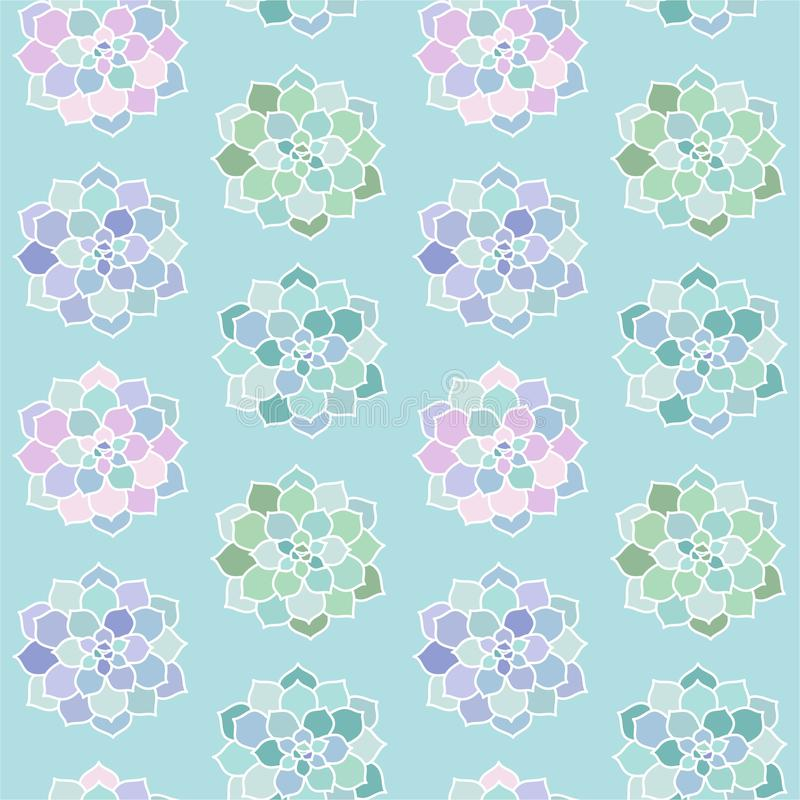House plants pink purple blue green turquoise pastel succulent t. Op view scandinavian style boho seamless pattern on a blue background vector royalty free illustration