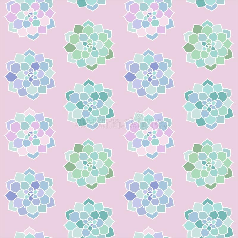 House plants pink purple blue green turquoise pastel succulent t. Op view scandinavian style boho seamless pattern on a pink background vector royalty free illustration