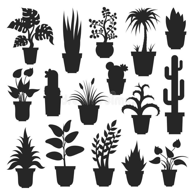 House plants silhouettes stock illustration