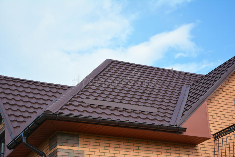House Problem Areas for Rain Gutter Waterproofing. Guttering, Gutters, Metal Roof, Plastic Guttering, Guttering & Drainage. stock image