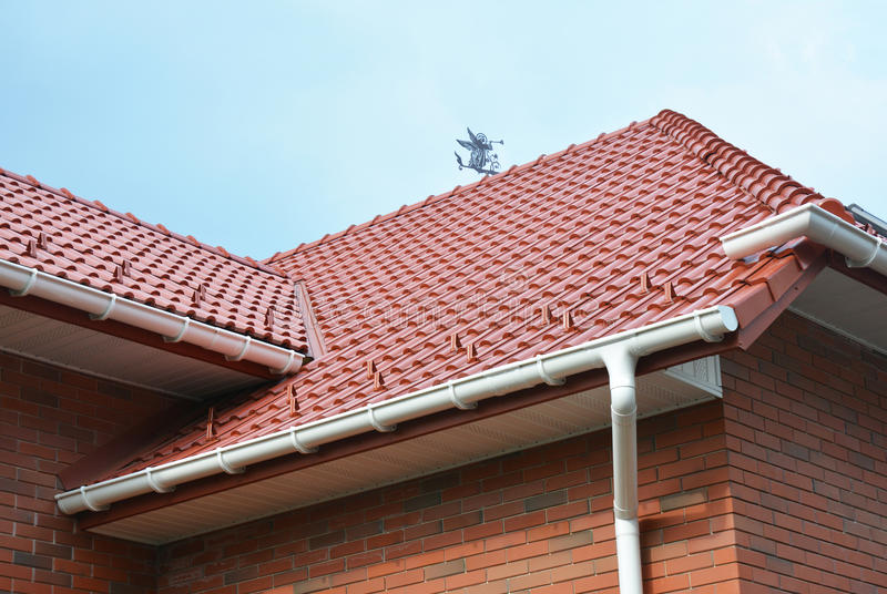 House Problem Areas for Rain Gutter Waterproofing. Guttering, Gutters, Plastic Guttering, Guttering & Drainage. Guttering Down pipe Fittings royalty free stock images