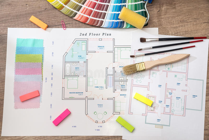 house project with color palette stock photography